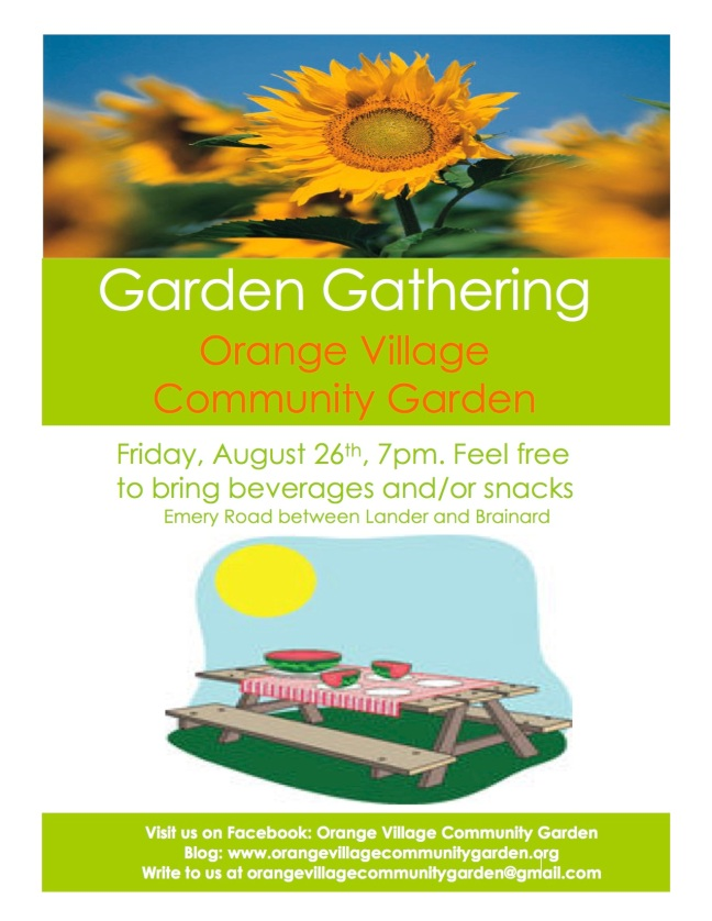 Orange Village Garden Garden Gathering Flier